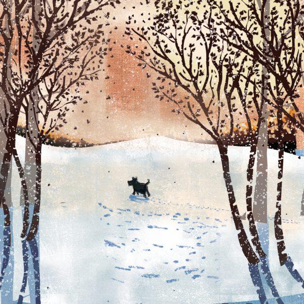Kuvassa joulukortti, jossa koira juoksee lumessa.