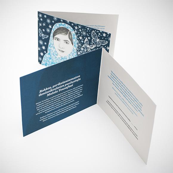 Kuvassa Malala -aineeton lahja.
