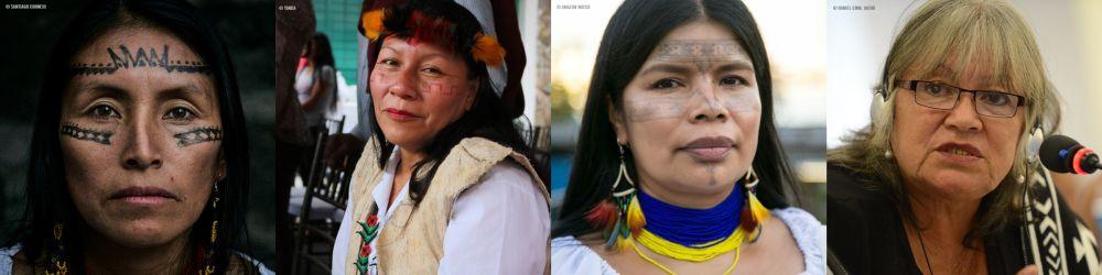 Kuvassa Amazonin naiset: vasemmalta oikealla Salomé Aranda, Nema Grefa, Patricia Gualinga ja Margoth Escobar