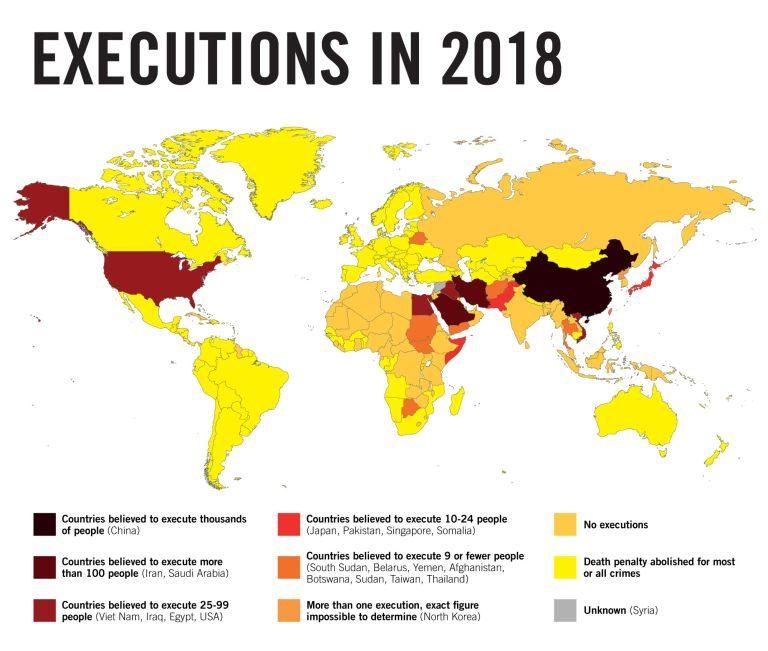 Kartta teloituksista vuonna 2018