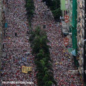 Ilmakuva yli miljoona ihmistä vetäneestä mielenosoituksesta.