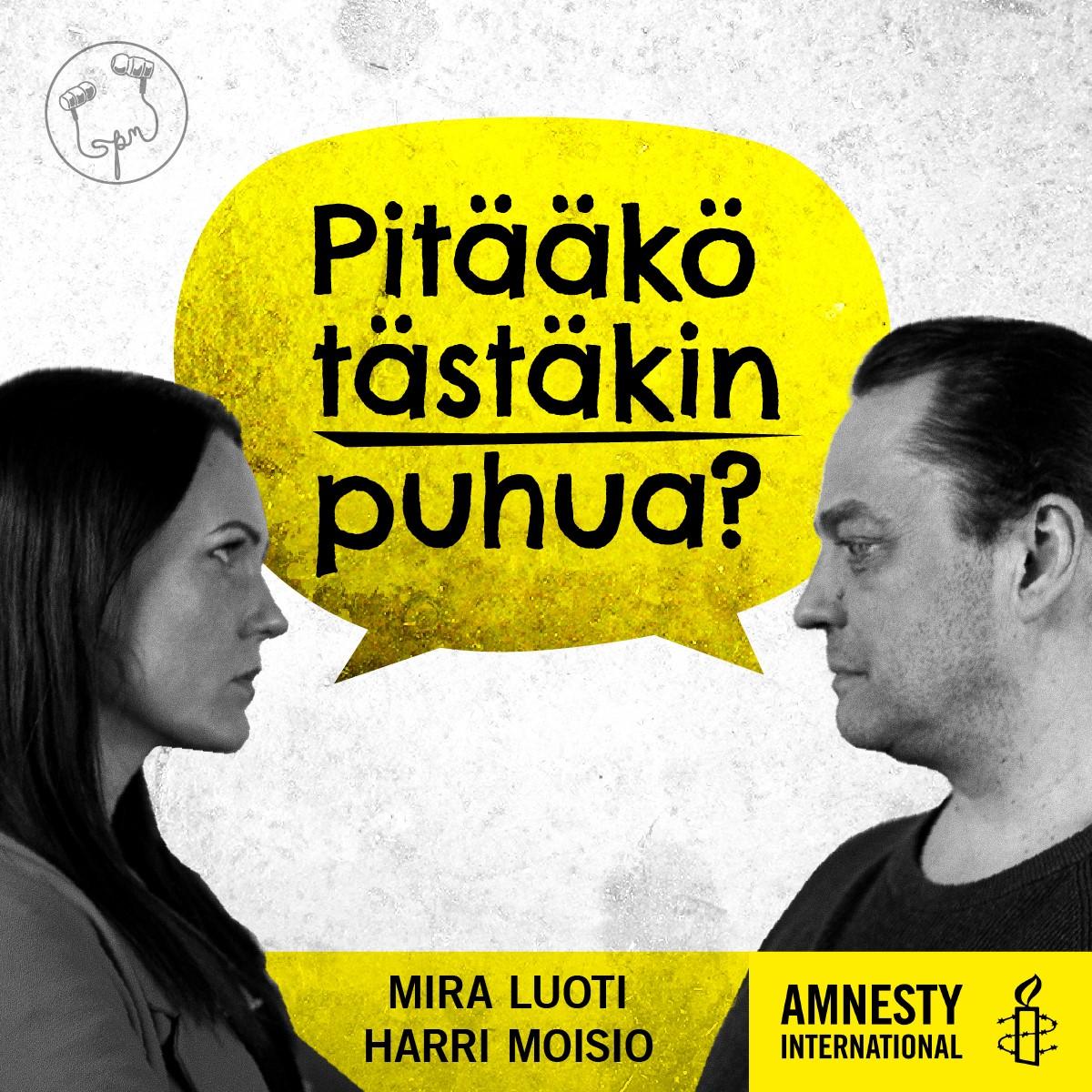 Podcastin kansikuva, jossa Mira Luoti ja Harri Moisio tuijottavat toisiaan silmiin.