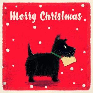 """Punaisella pohjalla valkoinen teksti """"Merry Christmas"""" ja musta skotlanninterrieri, jolla on suussaan kirjekuori."""