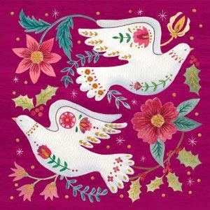 Purppuranpunaisella pohjalla kaksi valkoista kyyhkyä sekä kukkia.