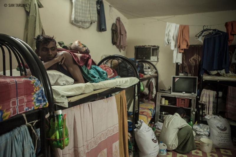 Qatarin siirtotyöläisten epäsiisti asuntola.