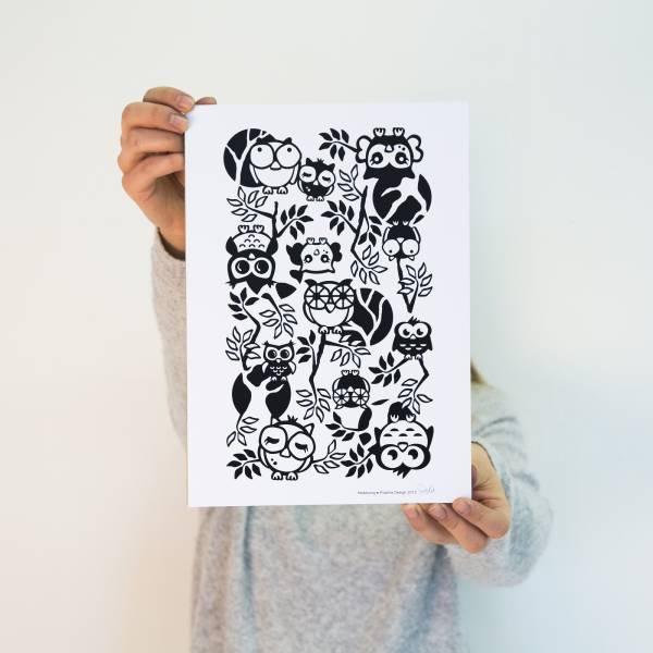 Pisama Design sisustustaulu A4 mustavalkoinen