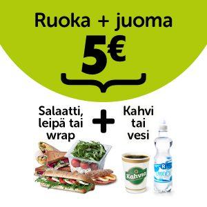 Salaatti, leipä tai wrap + kahvi tai vesi yhteishintaan 5 €.