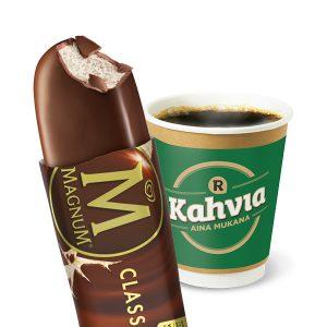 Magnum-jäätelö ja pieni kahvi 3 €
