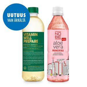 Vitamin Well Prepare ja NOBE aloe vera mansikka vain Ärrältä