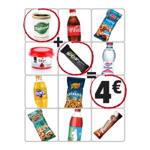 Valitse 2 tuotetta hintaan 4 €