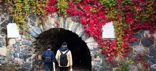 Kaksi ihmistä menossa bastioni Höpkeniin, jonka suuaukko on punaisten murattien peitossa.