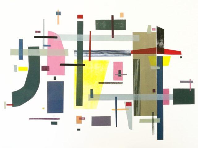 Taiteilija Pia Strangin abstrakti taideteos, jossa on laatikkomaisia kuvioita eri väreissä ja muodoissa