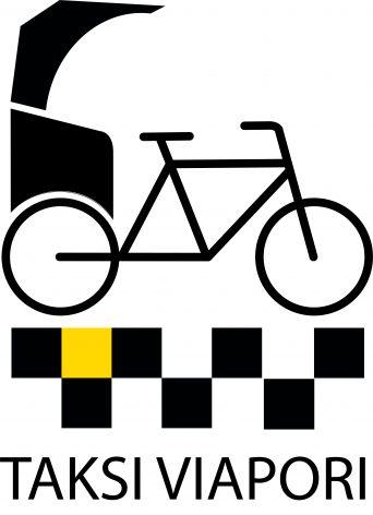 Taksi Viaporin logo, jossa on piirros polkupyörätaksista.