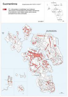 Kartta S1: ulkoasultaan ja sisätiloiltaan hyvin säilyneet rakennukset ja linnoituslatteet sekä telakka rakenteineen ja varusteineen, kuten telakan padot, portit, nosturit, pumppaamot ja veden poistoputki.