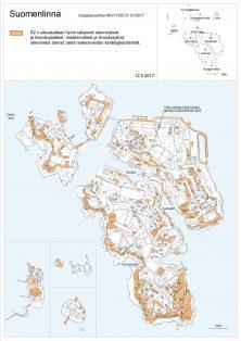 Kartta S2: Ulkoasultaa. hyvin säilyneet rakennukset ja linnoituslaitteet, maalinnoitteet ja linnoituspihat, maalinnoitteet ja linnoituspihat, rakennetut rannat, sekä makeanveden keräilyjärjestelmät.