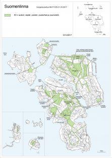 Kartta S3: aukiot, väylät, puistot, puutarhat ja puurivistöt.