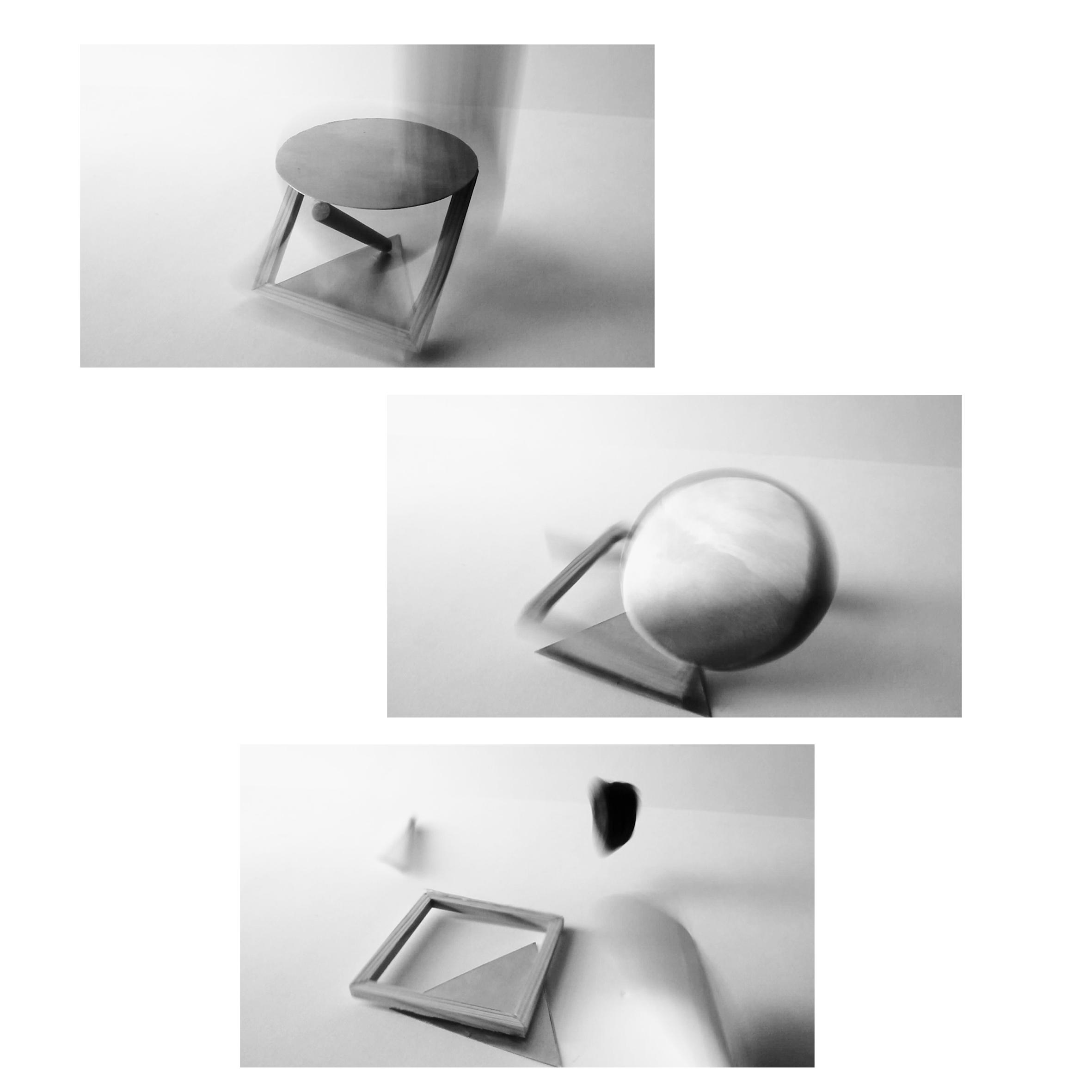 Kuvassa näyttelyyn liittyvä huonekalu eri kulmista kuvattuna