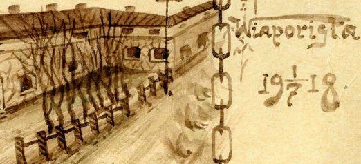 Vanha piirros jossa rusehtavalle taustalle piirrettu muuria ja oikeaan reunaan teksti
