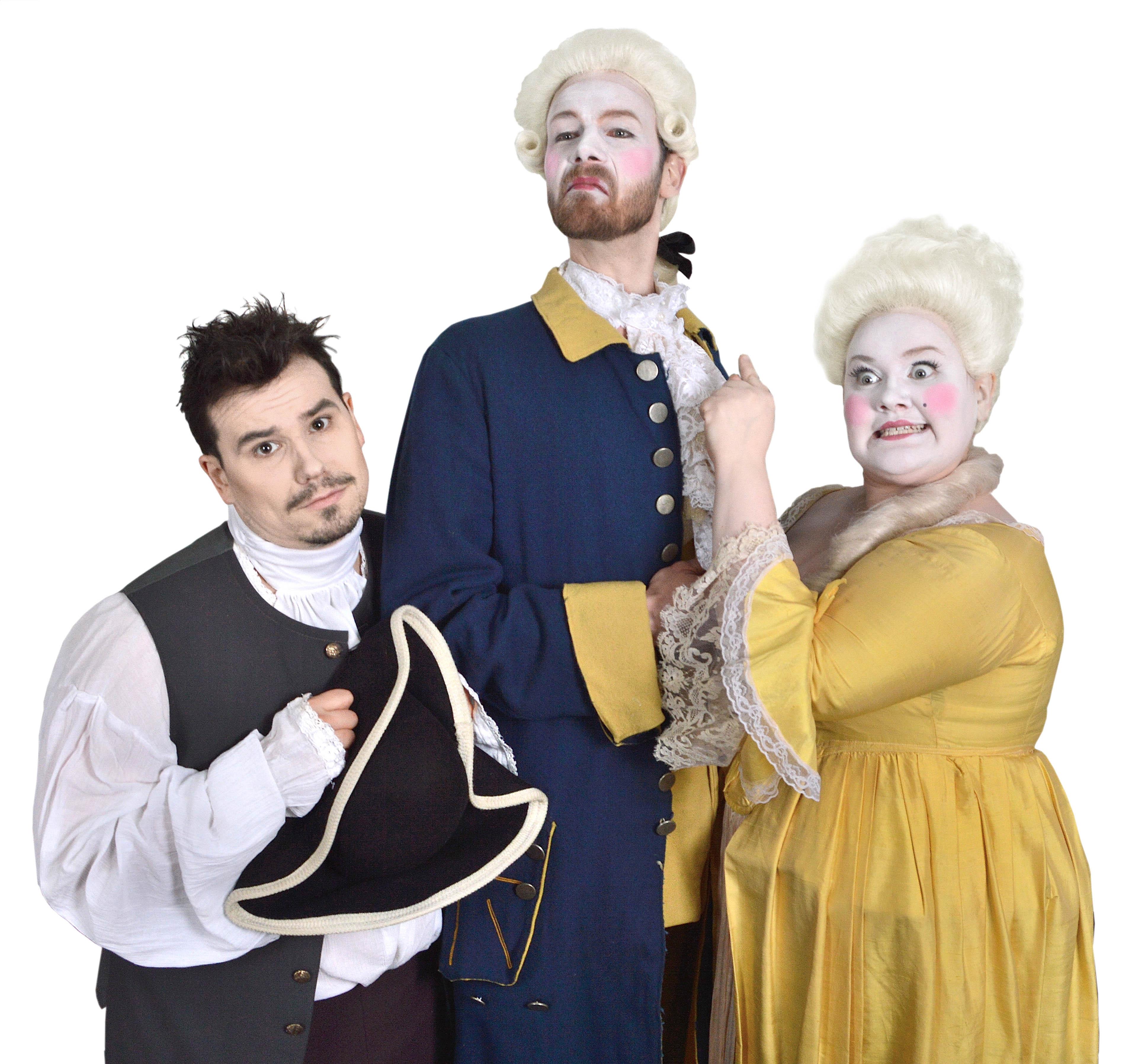 Esiintyjäkolmikko La Serva Padrona -oopperasta