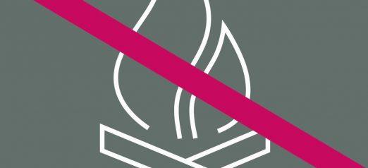 Piktogrammi nuotiosta, jonka päällä on punainen viiva