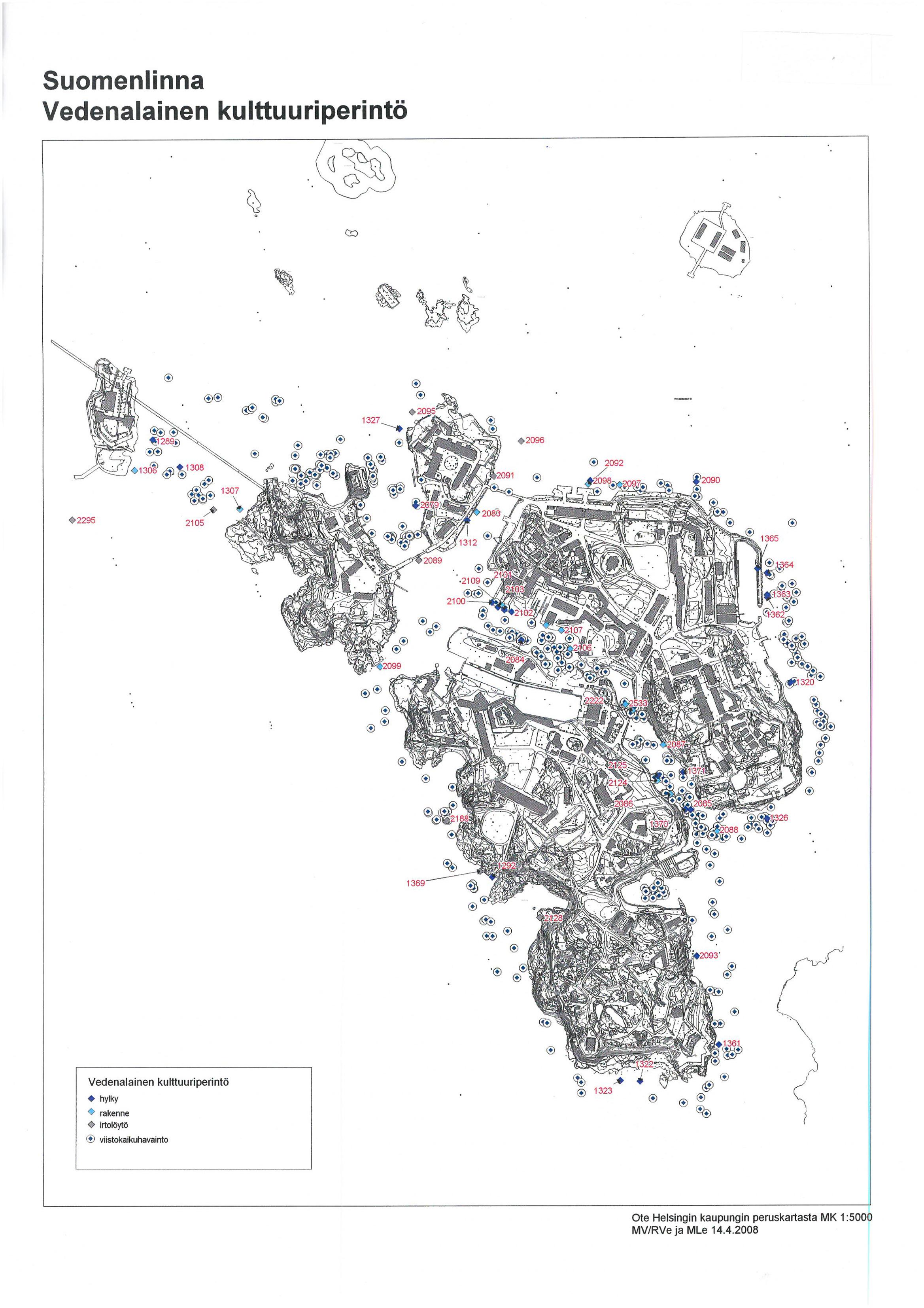 Mustavalkoinen kartta Suomenlinnasta ja sen välittömässä läheisyydessä sijaitsevista hylyistä ja rakenteista.
