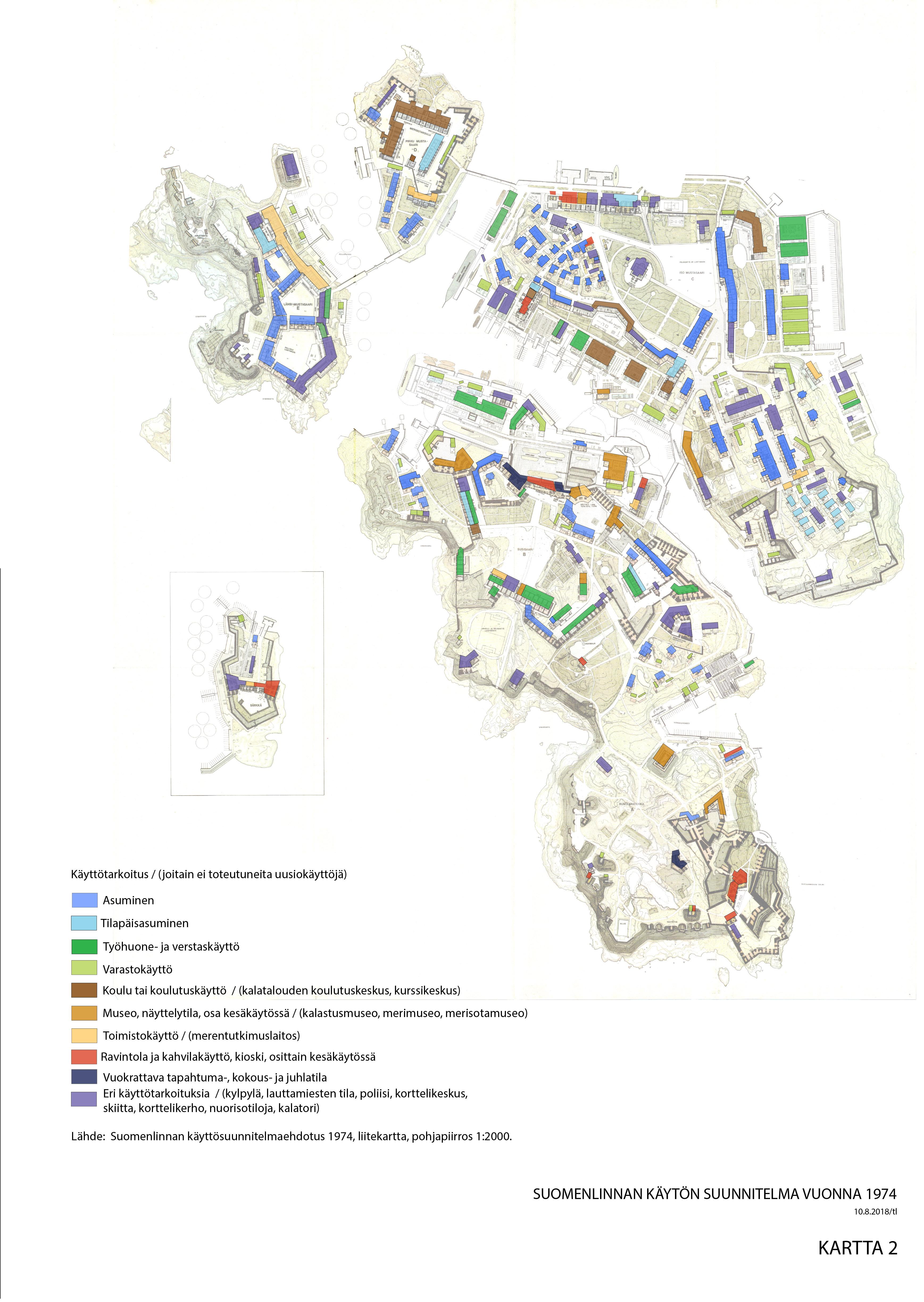 Karttapohja, jossa värikoodein on merkattu eri rakennusten käyttötarkoitukset.