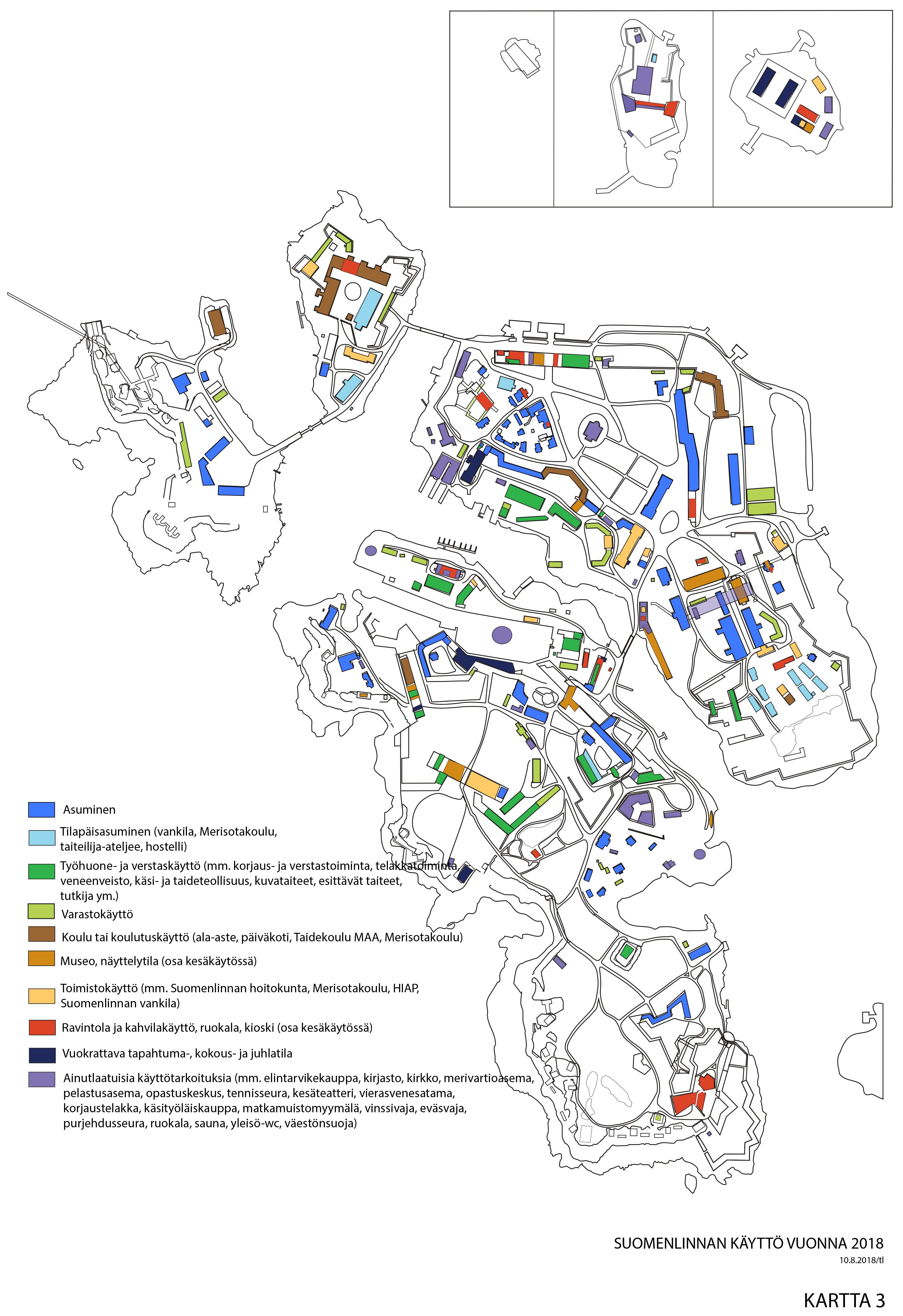 Karttapohja, johon on eri värein merkattu rakennusten käyttötarkoitus.