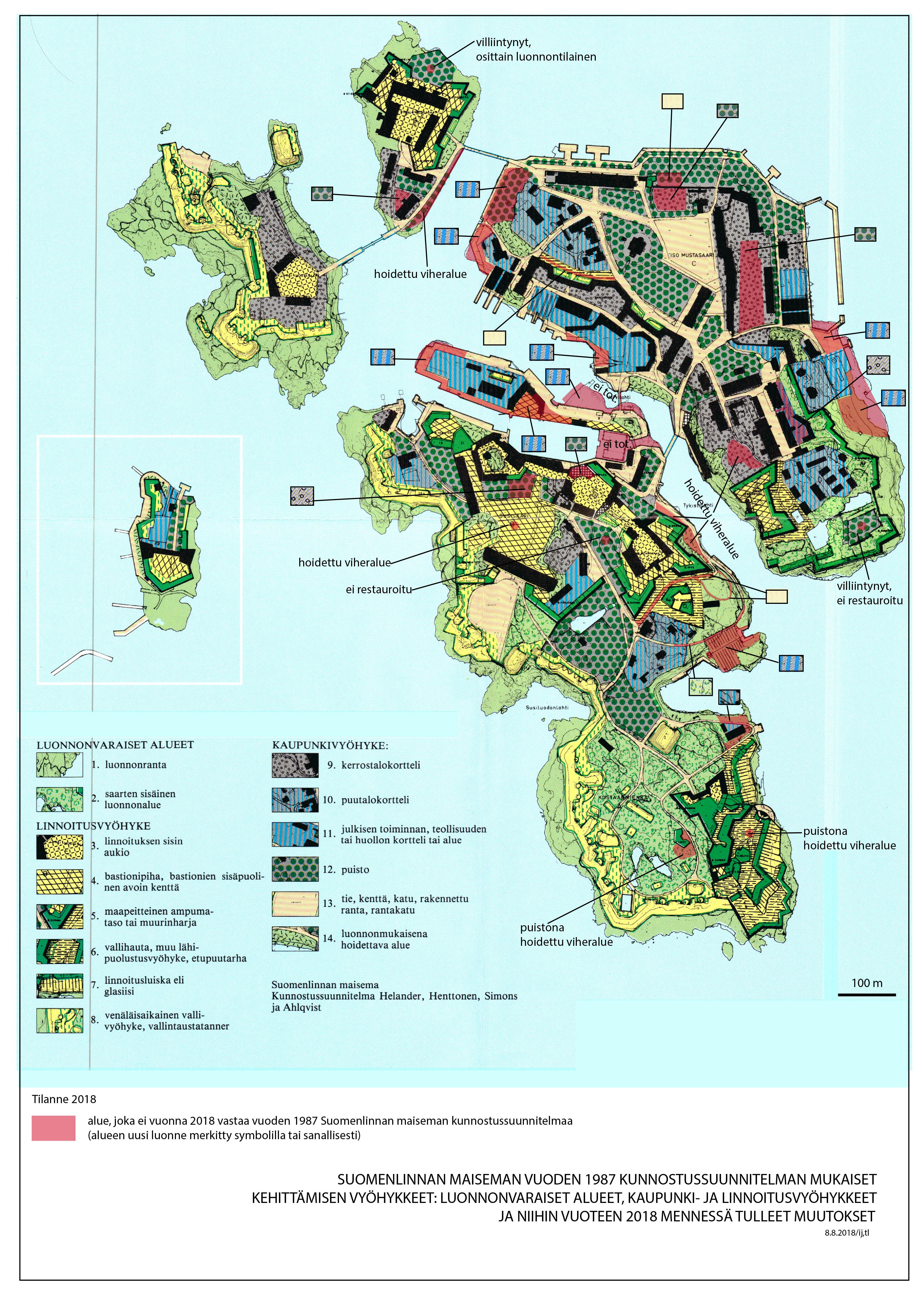 Karttapohja, johon on merkattu eri värein maisemavyöhykkeet.