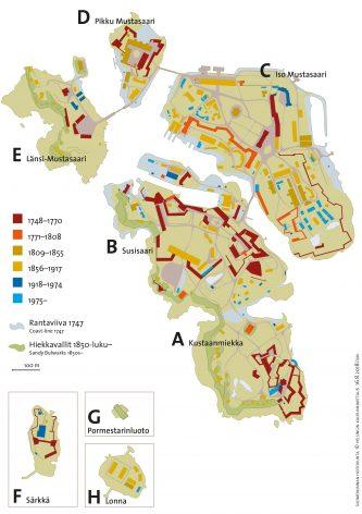 Karttapohja eri värikoodein. Suomenlinnan linnoitukset, vallit ja rakennukset muodostavat useita ajallisia kerrostumia.