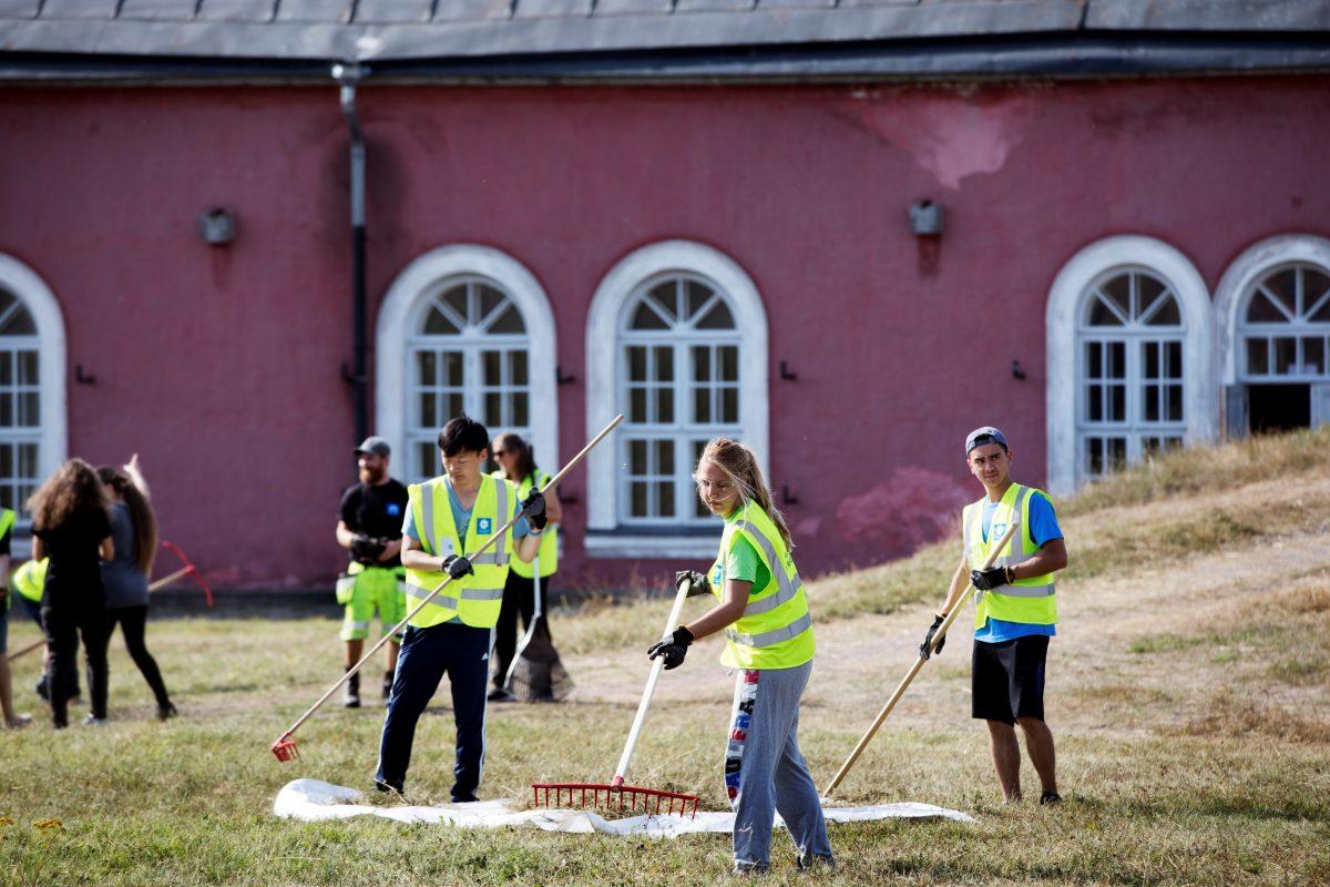 Vapaaehtoisia töissä ulkona kesällä.
