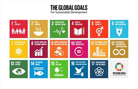 aaviossa esitetään kuvakkeina YK:n seitsemäntoista kestävän kehityksen tavoitetta englanniksi