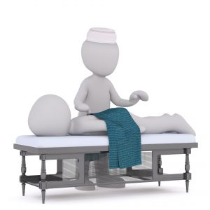 Lääkäri ja potilas -piirretty kuvituskuva