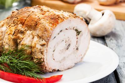 Schweineroulade mit Pilzgemüse