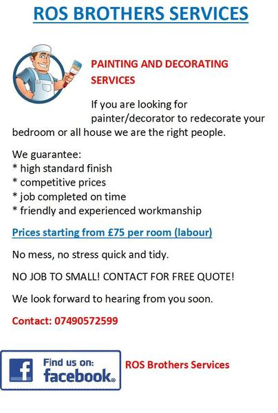 Painter And Decorator Prices >> Ros Brothers Services Painting And Decorating Services