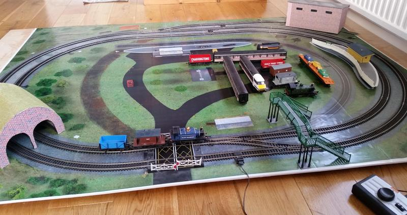 Hornby Train set (complete incl  track fixed to board) in