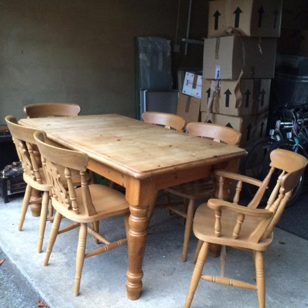 - Solid Antique Pine Table And Chairs In Henfield - Expired Friday-Ad