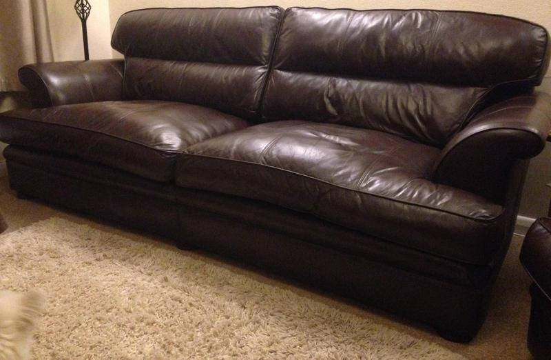 Large Dark Brown Soft Italian Leather Sofa And Arm Chair In
