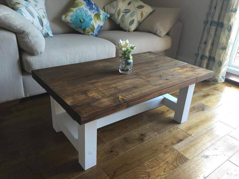 Chunky country style coffee table solid wood dark oak for 60s style coffee table