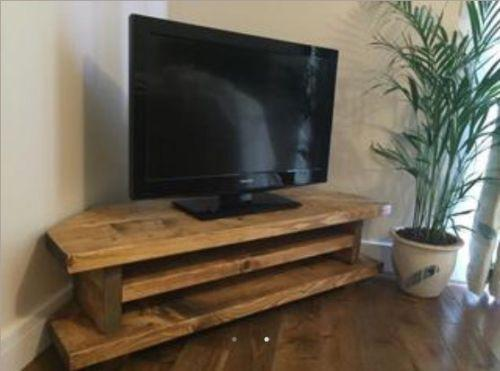 handmade new forest chunky rustic tv audio dvd corner unit. Black Bedroom Furniture Sets. Home Design Ideas