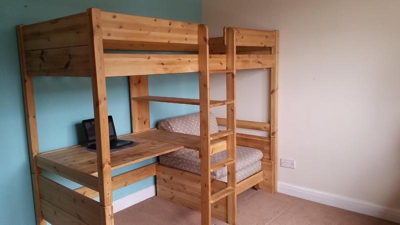 STOMPA Pine High Bed With Desk And Sofa Chair Underneath In Uckfield