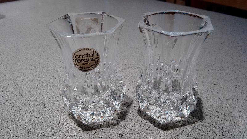 Cristal Darques France.Pair Of Cristal D Arques Longchamp France Lead Crystal Small Bud