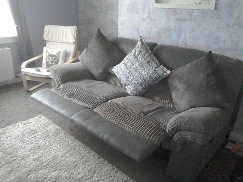 Brown Dfs Fabric And Faux Leather Recliner Sofa For Sale In Glasgow