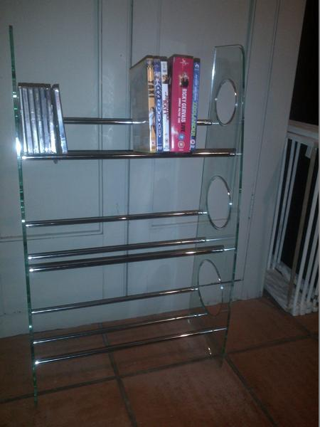 Funky perspex and chrome metal CD DVD storage unit rack shelf bookcase in Peacehaven - Sold | Friday-Ad & Funky perspex and chrome metal CD DVD storage unit rack shelf ...