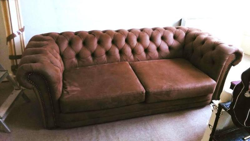 New Chesterfield style Brown nubuck sofa nearly New Excellent condition and very fortable and stylish in Brighton Expired Awesome - Beautiful nubuck leather sofa Top Search
