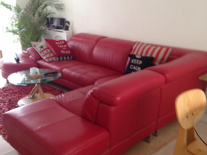 5 seater red leather corner sofa with pouffe in Brighton ...