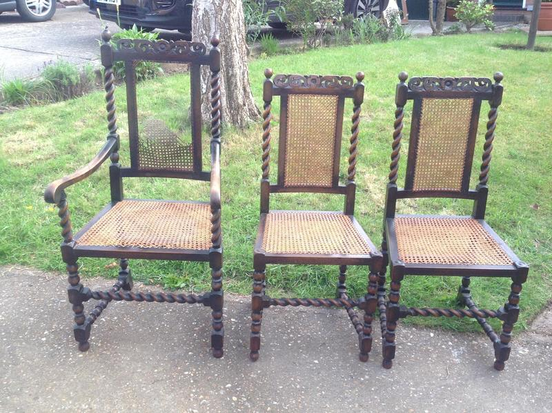 Barley Twist Dark Oak And Cane Chairs. REDUCED! One Carver And 5 Chairs.In  Need Of Some TLC. In Uckfield   Expired | Friday Ad