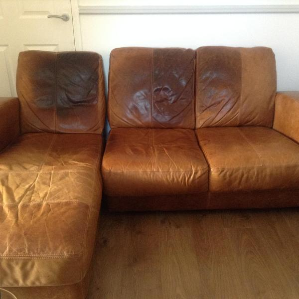 Amazing Used 3 Seater Brown Dfs Leather Sofa With Chaise Longue In Camellatalisay Diy Chair Ideas Camellatalisaycom