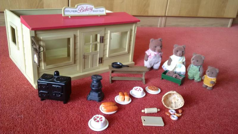 Vintage Sylvanian Families Bakery Set Including Bear Family And