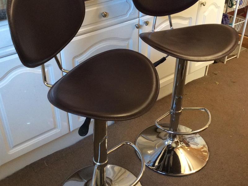 Swell Pair Of John Lewis Dark Brown Faux Leather And Chrome Bar Beatyapartments Chair Design Images Beatyapartmentscom