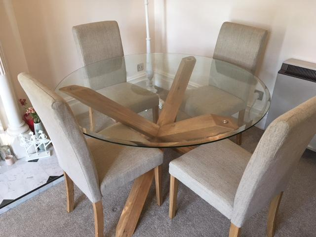 Round Glass Top Criss Cross Oak Leg Dining Table In Guildford